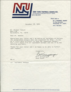 Autographs: BILL ARNSPARGER - TYPED LETTER SIGNED 12/18/1974