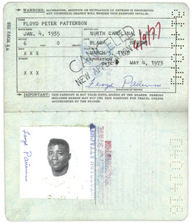 FLOYD PATTERSON - PASSPORT SIGNED TWICE