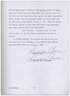 Autographs: LUCILLE LUCY BALL - DOCUMENT MULTI-SIGNED 01/01/1983