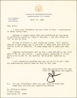 JOHN W. JENRETTE JR. - TYPED LETTER SIGNED 04/17/1980