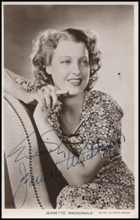 JEANETTE MacDONALD - PRINTED PHOTOGRAPH SIGNED IN INK