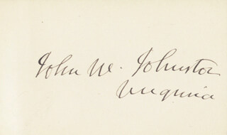 JOHN W, JOHNSTON - AUTOGRAPH
