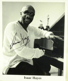 ISAAC HAYES - PRINTED PHOTOGRAPH SIGNED IN INK