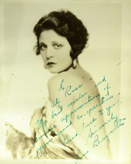 LINA BASQUETTE - AUTOGRAPH NOTE ON PHOTOGRAPH SIGNED