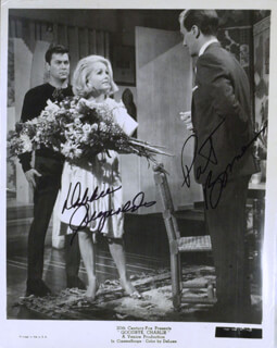 GOODBYE, CHARLIE MOVIE CAST - PRINTED PHOTOGRAPH SIGNED IN INK CO-SIGNED BY: PAT BOONE, DEBBIE REYNOLDS