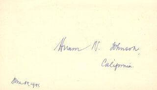 HIRAM WARREN JOHNSON - AUTOGRAPH 06/14/1941