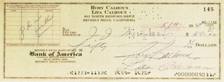 RORY CALHOUN - AUTOGRAPHED SIGNED CHECK 05/11/1964 CO-SIGNED BY: LITA BARON
