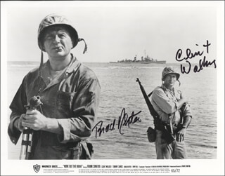 NONE BUT THE BRAVE MOVIE CAST - PRINTED PHOTOGRAPH SIGNED IN INK CO-SIGNED BY: BRAD DEXTER, CLINT WALKER