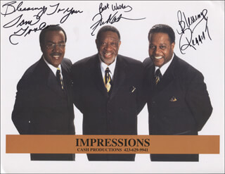 THE IMPRESSIONS - PRINTED PHOTOGRAPH SIGNED IN INK CO-SIGNED BY: FRED CASH, SAM GOODEN, REGGIE (SR.) TORIAN
