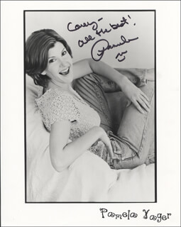 PAMELA YAGER - INSCRIBED PRINTED PHOTOGRAPH SIGNED IN INK
