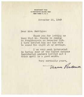 FIRST LADY ELEANOR ROOSEVELT - TYPED LETTER SIGNED 11/15/1949