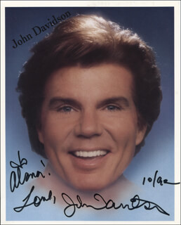 JOHN DAVIDSON - INSCRIBED PRINTED PHOTOGRAPH SIGNED IN INK 10/1992
