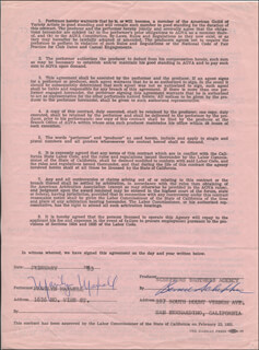 MARILYN MAXWELL - CONTRACT SIGNED 02/1963