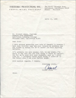 CORNEL WILDE - TYPED LETTER SIGNED 04/15/1968