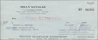 TELLY SAVALAS - AUTOGRAPHED SIGNED CHECK 10/17/1977