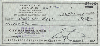 SAMMY CAHN - AUTOGRAPHED SIGNED CHECK 06/21/1974