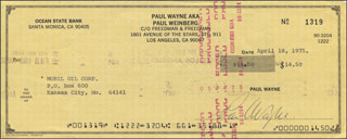 PAUL WAYNE - AUTOGRAPHED SIGNED CHECK 04/18/1975