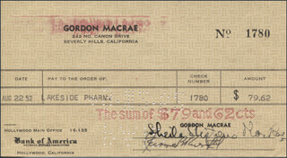 SHEILA MacRAE - AUTOGRAPHED SIGNED CHECK 08/22/1952