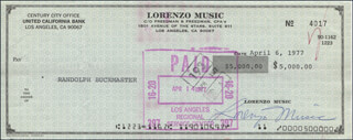 LORENZO MUSIC - AUTOGRAPHED SIGNED CHECK 04/06/1977