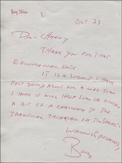 BARRY NELSON - AUTOGRAPH LETTER SIGNED 10/27