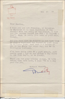 DON PORTER - TYPED LETTER SIGNED 12/14/1977 CO-SIGNED BY: PEGGY CONVERSE