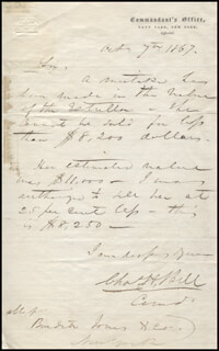 Autographs: REAR ADMIRAL CHARLES H. BELL - AUTOGRAPH LETTER SIGNED 10/07/1867
