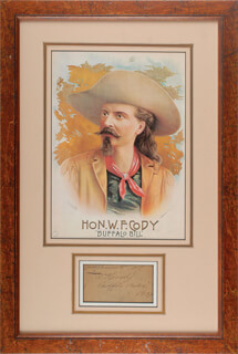 Autographs: WILLIAM F. BUFFALO BILL CODY - AUTOGRAPH SENTIMENT SIGNED 1889
