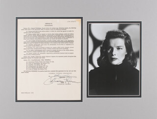 Autographs: KATHARINE HEPBURN - DOCUMENT SIGNED 02/22/1967