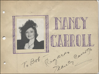 NANCY CARROLL - AUTOGRAPH NOTE SIGNED