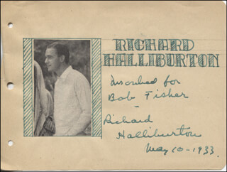 RICHARD HALLIBURTON - AUTOGRAPH NOTE SIGNED 05/10/1933