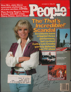 CATHY LEE CROSBY - INSCRIBED MAGAZINE COVER SIGNED  - HFSID 345680