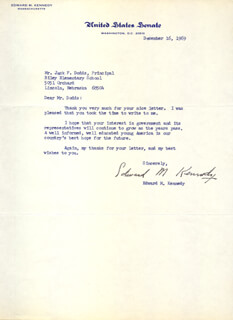 EDWARD TED KENNEDY - TYPED LETTER SIGNED 12/16/1969