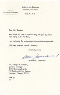 WILLIAM F. KNOWLAND - TYPED NOTE SIGNED 07/06/1970