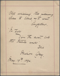 MARION GREY - AUTOGRAPH QUOTATION SIGNED 05/19/1890