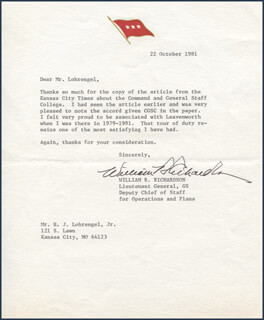 GENERAL WILLIAM R. RICHARDSON - TYPED LETTER SIGNED 10/22/1981