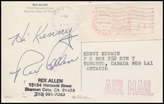 REX ALLEN - INSCRIBED PICTURE POSTCARD SIGNED CIRCA 1982