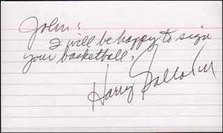 HARRY GALLATIN - AUTOGRAPH NOTE SIGNED