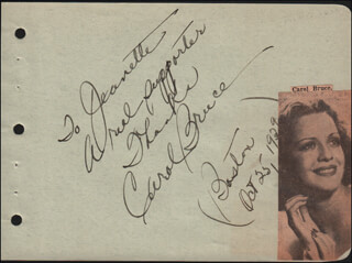 CAROL BRUCE - AUTOGRAPH NOTE SIGNED 10/25/1939