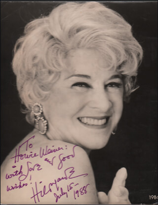 HILDEGARDE - AUTOGRAPHED INSCRIBED PHOTOGRAPH 07/15/1988