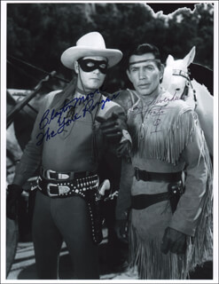 Autographs: LONE RANGER TV CAST - PHOTOGRAPH SIGNED CO-SIGNED BY: CLAYTON THE LONE RANGER MOORE, JAY TONTO SILVERHEELS