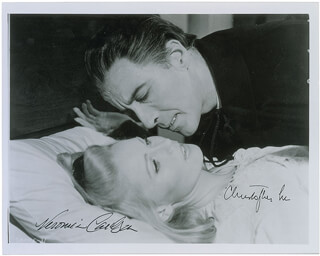DRACULA HAS RISEN FROM THE GRAVE MOVIE CAST - AUTOGRAPHED SIGNED PHOTOGRAPH CO-SIGNED BY: CHRISTOPHER LEE, VERONICA CARLSON
