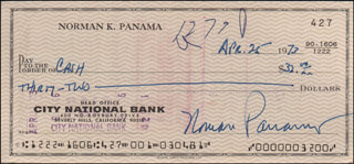 NORMAN PANAMA - AUTOGRAPHED SIGNED CHECK 04/25/1973