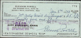 ELEANOR POWELL - AUTOGRAPHED SIGNED CHECK 01/08/1973
