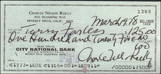 CHARLES NELSON REILLY - AUTOGRAPHED SIGNED CHECK 03/20/1978