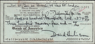 DAVID HEDISON - AUTOGRAPHED SIGNED CHECK 11/30/1970