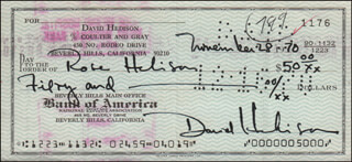 DAVID HEDISON - AUTOGRAPHED SIGNED CHECK 11/28/1970 CO-SIGNED BY: ROSE T. BOGHOSIAN HEDISON