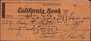 CHET HUNTLEY - AUTOGRAPHED SIGNED CHECK 07/21/1950 CO-SIGNED BY: ARTHUR MANELLA