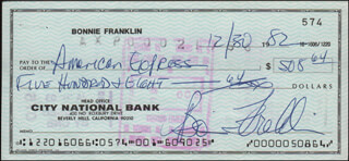 BONNIE FRANKLIN - AUTOGRAPHED SIGNED CHECK 12/30/1982
