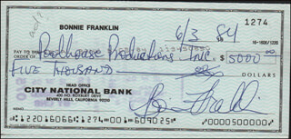 BONNIE FRANKLIN - AUTOGRAPHED SIGNED CHECK 06/03/1984