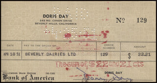 DORIS DAY - AUTOGRAPHED SIGNED CHECK 04/18/1951